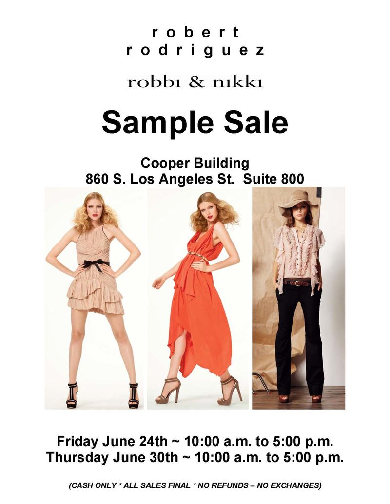 RR Sample Sale Flyer -  Summer 2011