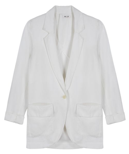 Boyfriend Blazer White Fiction Twill