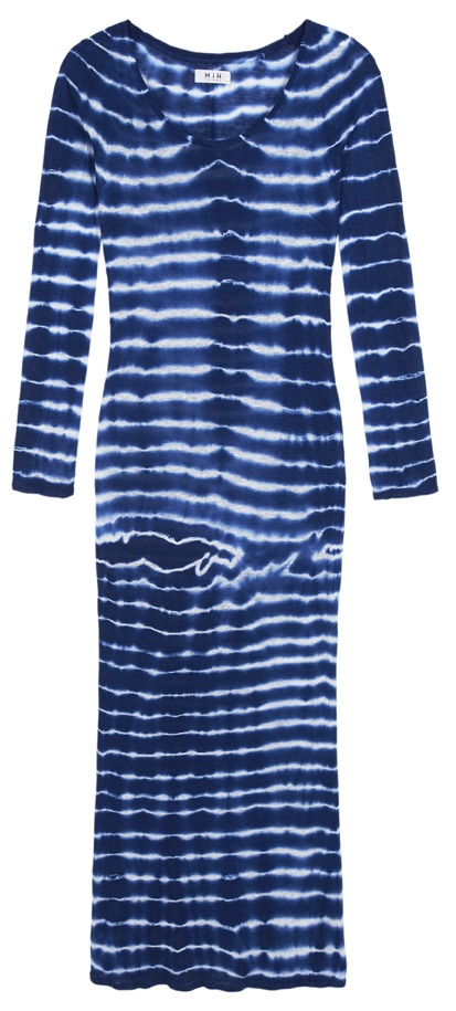 Long Jersey Dress Blue & White Shibori Linen
